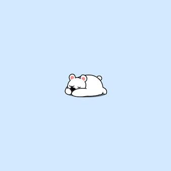 Icône de sommeil mignon ours polaire