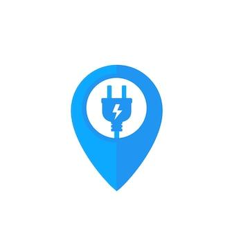 Icône de station de charge avec prise électrique