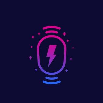 Icône de station de recharge sans fil, vecteur