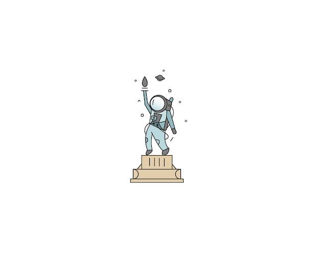 Icône de la statue de la liberté de l'astronaute, illustration de conception d'art à ligne plate.