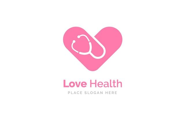 Icône de stéthoscope avec forme de coeur. symbole de santé et de médecine.