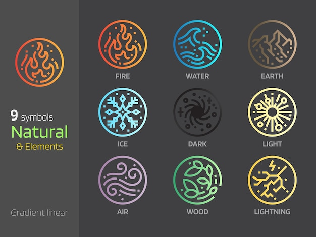 Icône de style linéaire dégradé concepts symboles naturels earthwaterwindfire 4 éléments signe