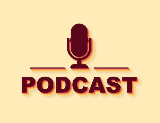 Icône de style rétro de podcast. insigne, icône, timbre, logo. illustration vectorielle de stock.