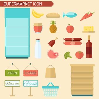 Icône de supermarché plat