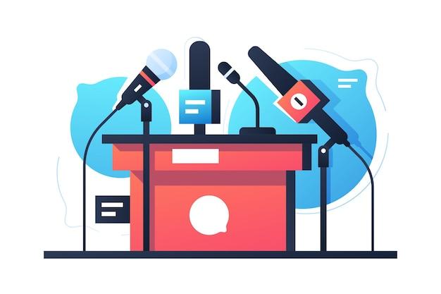 Icône de support de microphone vide débat et négociation. matériel de communication concept isolé sur discours de bulle.