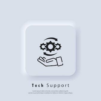 Icône de support technique. support client et technique. prend en charge l'opérateur téléphonique avec un casque. vecteur eps 10. icône de l'interface utilisateur. bouton web de l'interface utilisateur blanc neumorphic ui ux. neumorphisme