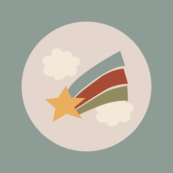 Icône de surbrillance instagram esthétique, griffonnage d'étoile filante dans le vecteur de conception de ton de terre