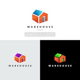 Icône de symbole de signe de logo de construction de maison d'entrepôt abstrait simple