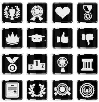 Icône de symbole de trophée et de prix sur illustration vectorielle fond blanc
