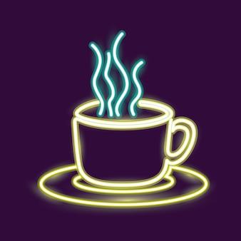 Icône de tasse de café au néon