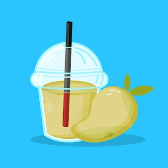 Icône de tasse en plastique d'emballage de jus de mangue