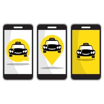 Icône de taxi sur smartphone