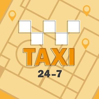 Icône de taxi de vecteur. goupille de carte avec signe de chèques de taxi. illustration vectorielle - style de ligne