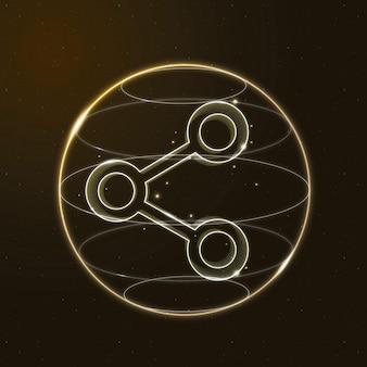 Icône de la technologie de connectivité numérique en or sur fond dégradé