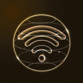 Icône de la technologie internet sans fil en or sur fond dégradé