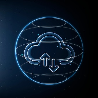 Icône de technologie de réseau cloud en bleu sur fond dégradé