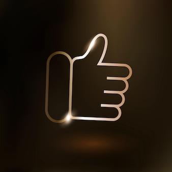 Icône de la technologie vectorielle thumbs up en or sur fond dégradé