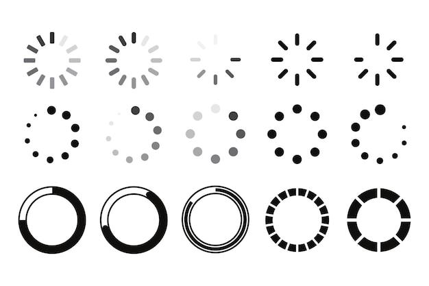 Icône de téléchargement, chargeur. un ensemble de cercles tournants