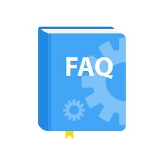 Icône de téléchargement du livre faq du guide de l'utilisateur. illustration vectorielle plane.