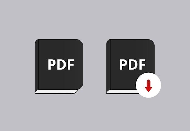 Icône de téléchargement de pdf de livre.