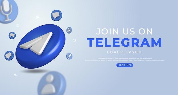 Icône de télégramme 3d pour instagram et modèle de bannière de médias sociaux