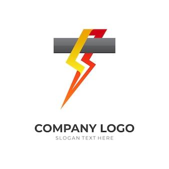 Icône de tempête, tonnerre et lettre t, logo de combinaison avec style coloré 3d