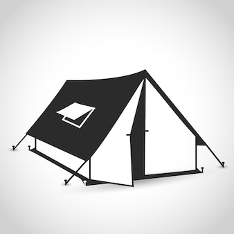 Icône de tente dans un design plat sur fond blanc avec ombre