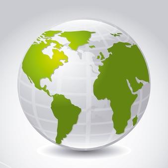 Icône de la terre au cours de l'illustration vectorielle fond gris