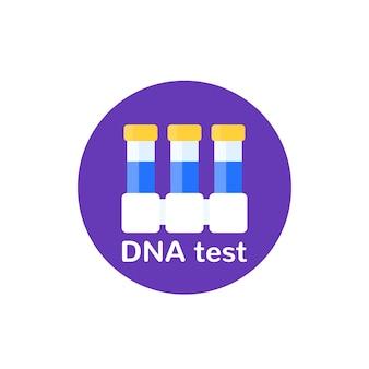 Icône de test adn avec tubes de laboratoire