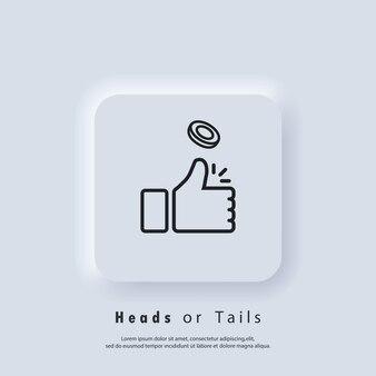 Icône de têtes ou de queues. le retournement de pièces. icône de pouce vers le haut. vecteur eps 10. icône de l'interface utilisateur. bouton web de l'interface utilisateur blanc neumorphic ui ux. neumorphisme