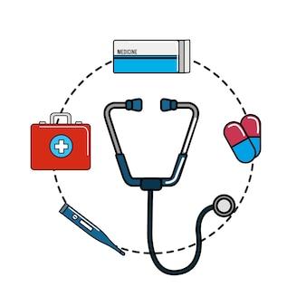 Icône de téthoscope avec des outils hospitaliers