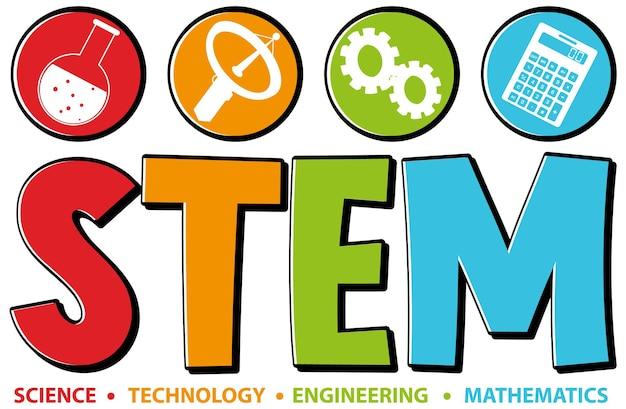 Icône de texte d'éducation stem coloré