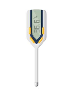 Icône de thermomètre. mesure de la température corporelle en vecteur. thermomètre électronique principal prévention coronavirus. icône de dessin animé pour la conception web isolée sur fond blanc.
