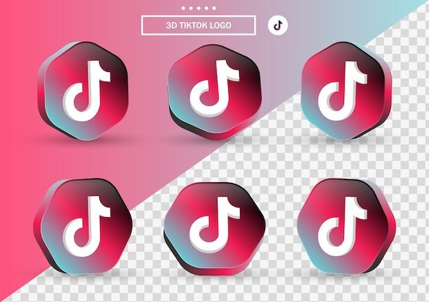 Icône tiktok 3d dans un cadre de style moderne et un polygone pour les logos d'icônes de médias sociaux