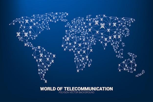 L'icône de la tour d'antenne polygone connecte la ligne à la forme de la carte du monde.