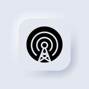 Icône de tour de téléphone portable. vecteur d'icône d'antenne. sans fil. ligne de connexion mobile. signe de signalisation. diffusion, antenne émettrice. bouton web de l'interface utilisateur blanc neumorphic ui ux. neumorphisme. vecteur eps 10.