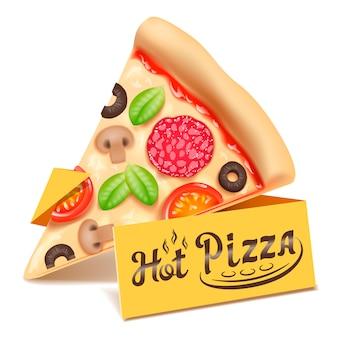 Icône de tranche de triangle de pizza isolé sur fond blanc.