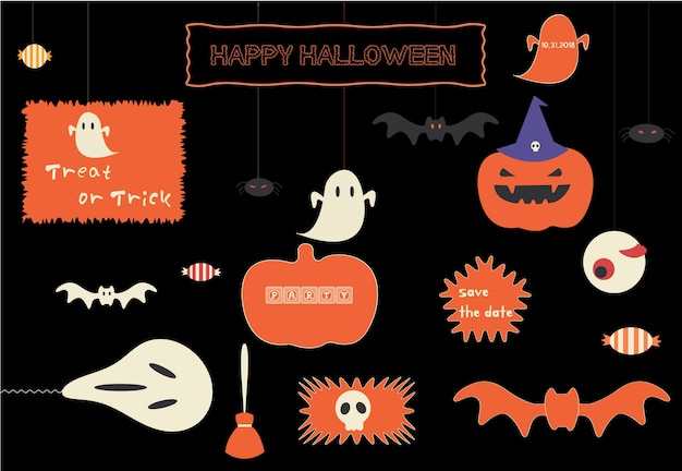 Icône transparente de vecteur définie pour halloween.