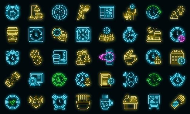 Icône de travail en retard. décrire la couleur néon de l'icône de vecteur de travail en retard sur le noir