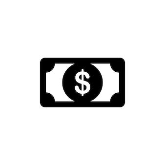Icône de trésorerie dollar argent en noir. notion financière. vecteur eps 10. isolé sur fond blanc.