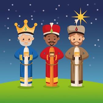 Icône de trois sages hommes sur fond de nuit