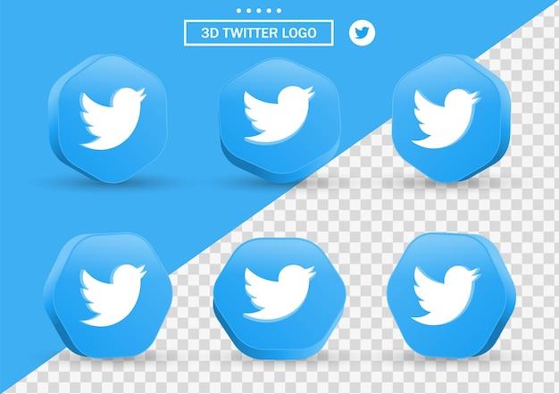 Icône twitter 3d dans un cadre de style moderne et un polygone pour les logos d'icônes de médias sociaux