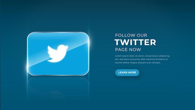Icône de twitter en verre 3d moderne avec bouton de suivi vecteur premium