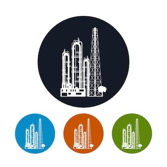 Icône d'une usine chimique ou d'une raffinerie de traitement de ressources naturelles, ou d'une usine de fabrication de produits. silhouette d'usine chimique, les quatre types d'usine d'icônes rondes colorées, vecteur
