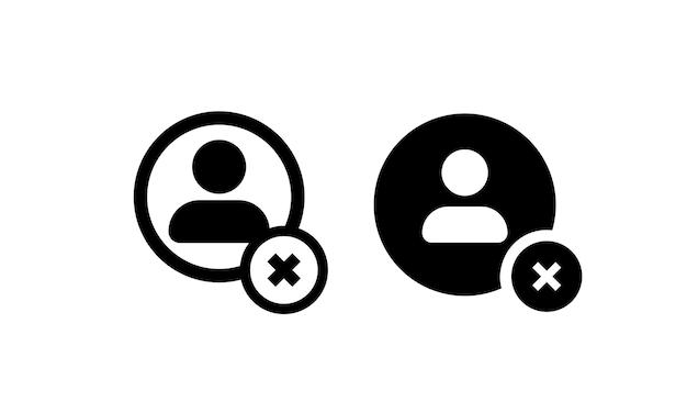 Icône de l'utilisateur définie en noir. avatar avec croix et rond pour la comptabilité, le profil, l'administrateur, les médias sociaux, les applications mobiles. vecteur sur fond blanc isolé. eps 10.