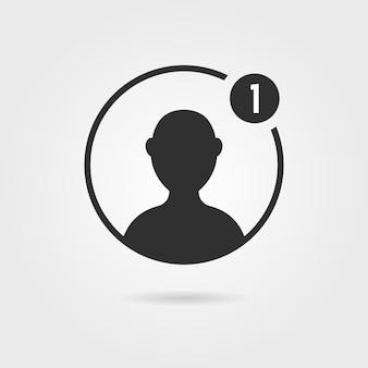 Icône d'utilisateur mâle noir avec ombre. concept de mise en réseau, clients, élément d'interface utilisateur simple, torse de leader, caractère. isolé sur fond gris. illustration vectorielle de style plat tendance logo moderne design