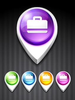 Icône de valise vectorielle en 5 couleurs différentes