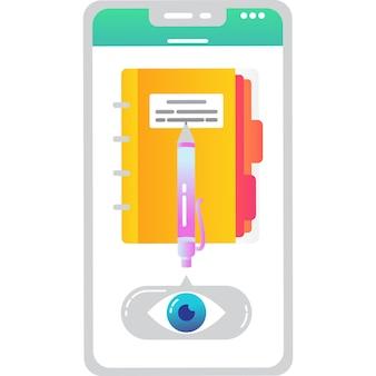 Icône de vecteur d'application mobile ebook isolé sur blanc