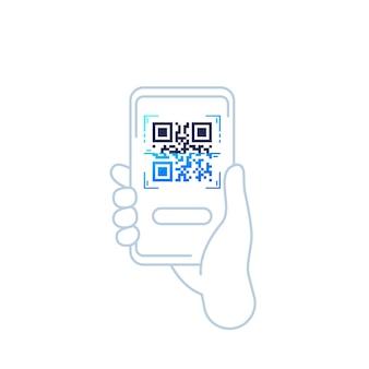 Icône de vecteur de balayage de code qr avec téléphone