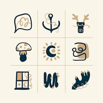 Icône de vecteur boho abstrait doodle